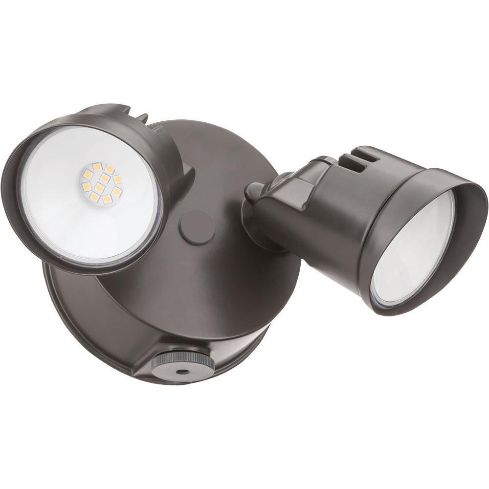 OVFL Adjustable Twin Head Dark Bronze 20-Watt 4000K Outdoor Photocell Dusk to Dawn Integrated LED Wall Mount Flood Light