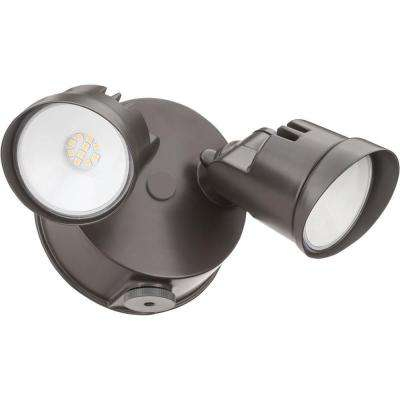 Adjustable Twin Head Dark Bronze 120-Watt 4000K Outdoor Photocell Dusk to Dawn Integrated LED Wall Mount Flood Light