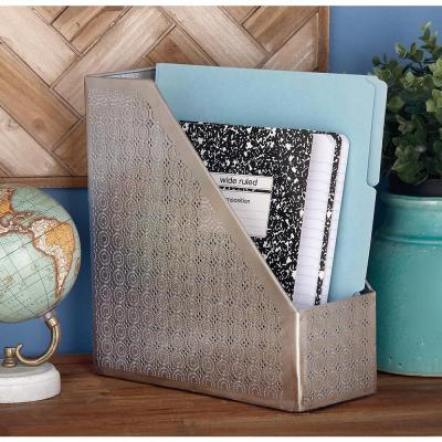 12 in. x 11 in. Decorative Silver Iron Magazine Holder