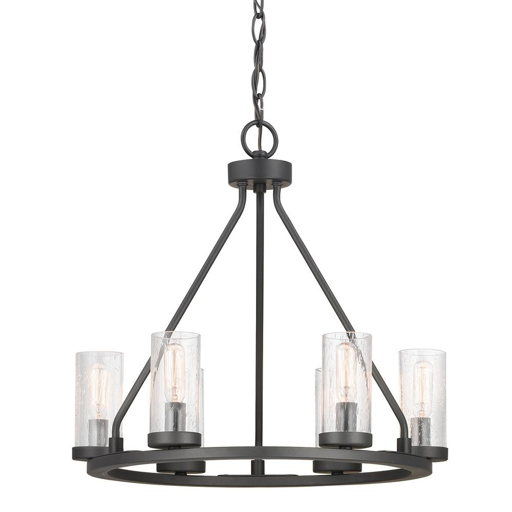 Progress lighting hartwell 6 light graphite chandelier with antique nickel accents and clear seeded glass