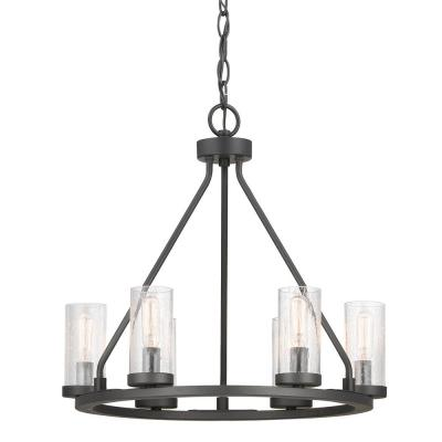 Hartwell 6-Light Graphite Chandelier with Antique Nickel Accents and Clear Seeded Glass