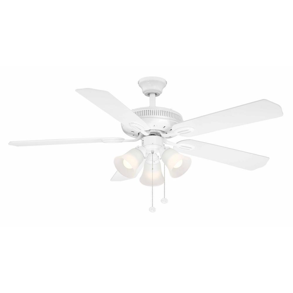 Glendale 52 in. LED Indoor White Ceiling Fan with Light Kit