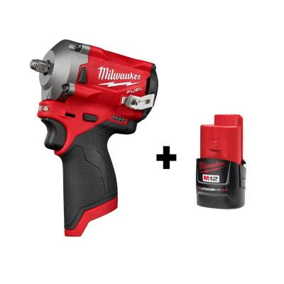 M12 FUEL 12-Volt Stubby 3/8 in. Lithium-Ion Brushless Cordless Impact Wrench with Free M12 2.0Ah Battery