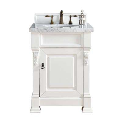 Brookfield 26 in. W Single Vanity in Cottage White with Marble Vanity Top in Carrara White with White Basin