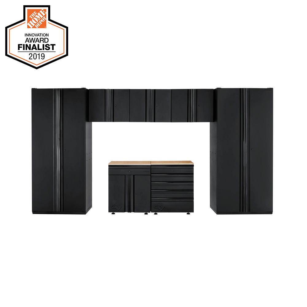 Husky Heavy Duty Welded 156 in. W x 81 in. H x 24 in. D Steel Garage Cabinet Set in Black (7-Piece)