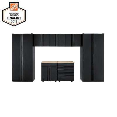 Heavy Duty Welded 156 in. W x 81 in. H x 24 in. D Steel Garage Cabinet Set in Black (7-Piece)