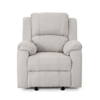 Mozelle Classic Tufted Beige Fabric Gliding Recliner