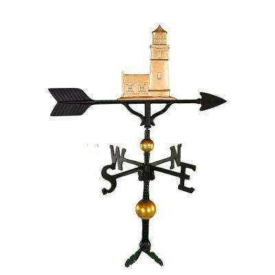 32 in. Deluxe Gold Cottage Lighthouse Weathervane