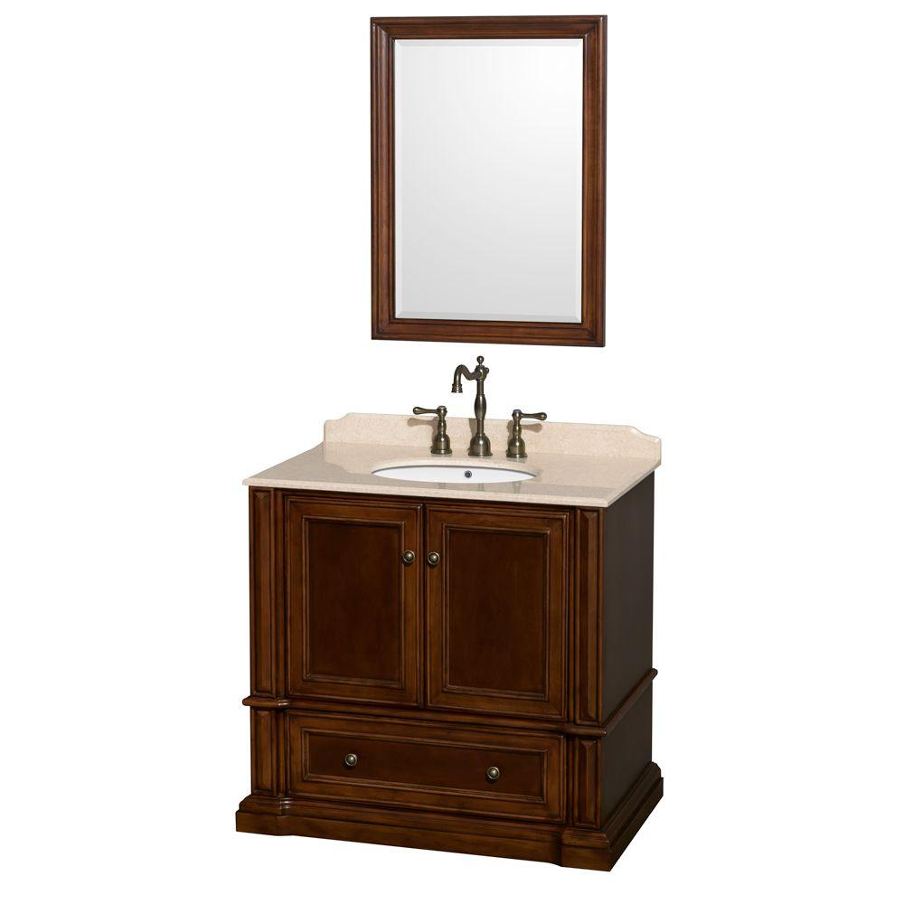 Wyndham Collection Rochester 37.5 in. Vanity in Cherry with Marble Vanity Top in Ivory and 24 in. Mirror