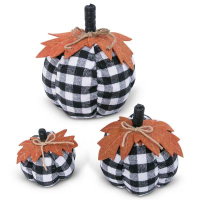 Assorted Sized 10 in. H Black and White Plaid Pumpkins Harvest Decor (Set of 3)