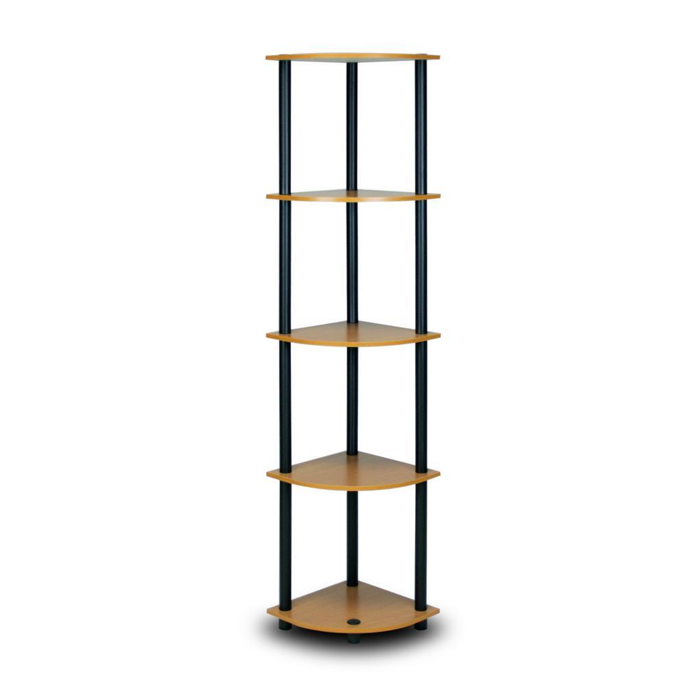 57.7 in. Light Cherry/Black Plastic 5-shelf Corner Bookcase with Open Storage