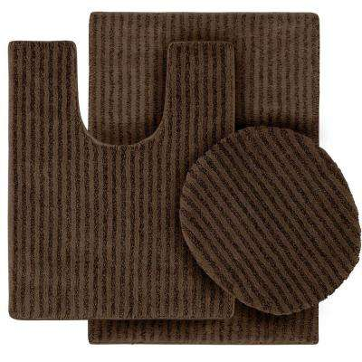 Sheridan Chocolate 21 in. x 34 in. Washable Bathroom 3-Piece Rug Set