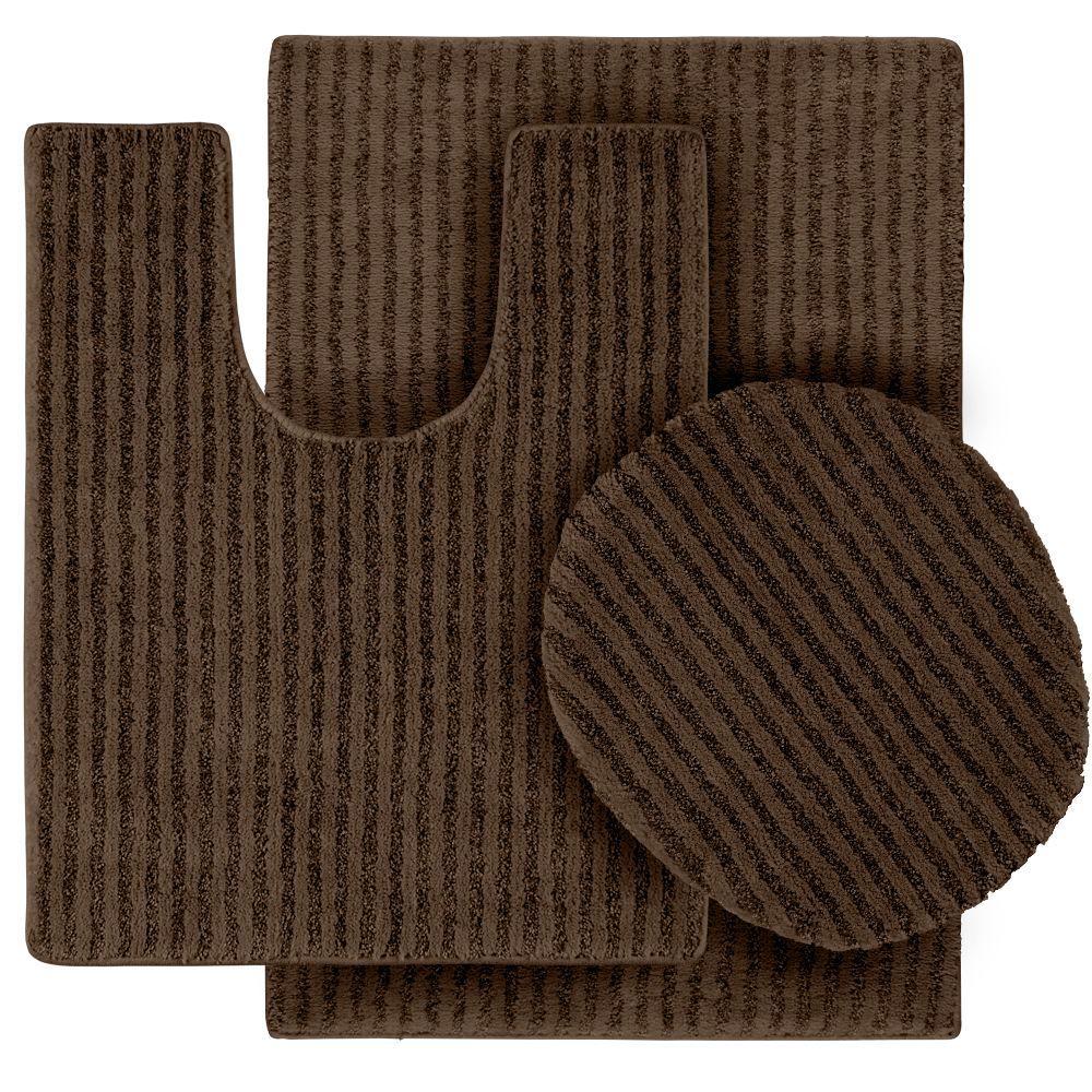 Sheridan Chocolate 21 in. x 34 in. Washable Bathroom 3-Piece Rug Set