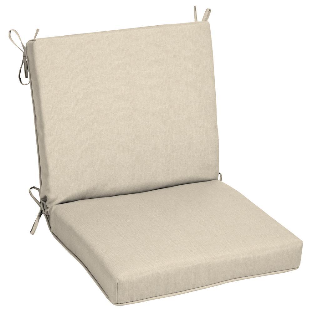 Oak Cliff 22 x 40 Sunbrella Canvas Flax Mid Back Outdoor Dining Chair Cushion