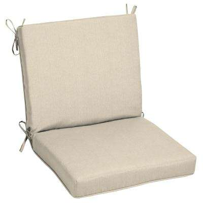 22 x 20 Sunbrella Canvas Flax Mid Back Outdoor Dining Chair Cushion