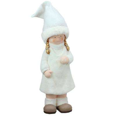 19 in. Winter Girl in White with Tall Hat Christmas Table Top Figure