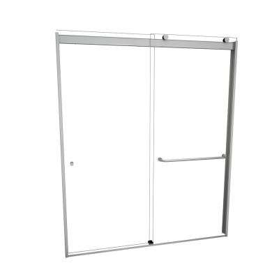3000V Series 60 in. W x 76 in. H Semi-Frameless Sliding Shower Door in Brushed Nickel with Single-Sided Towel Bar