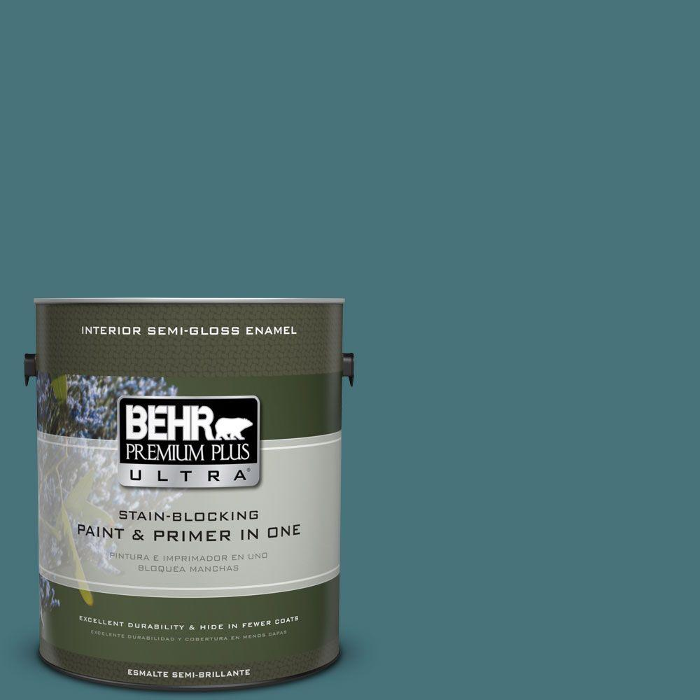 1 gal. #HDC-FL15-03 Blue Sage Semi-Gloss Enamel Interior Paint
