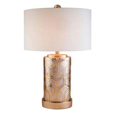 29 in. Rose Gold Bamboo Weave Table Lamp