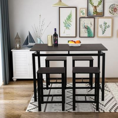 Espresso 5-Piece Dining Set Wood and Metal Pub Table with 4-Bar Stools