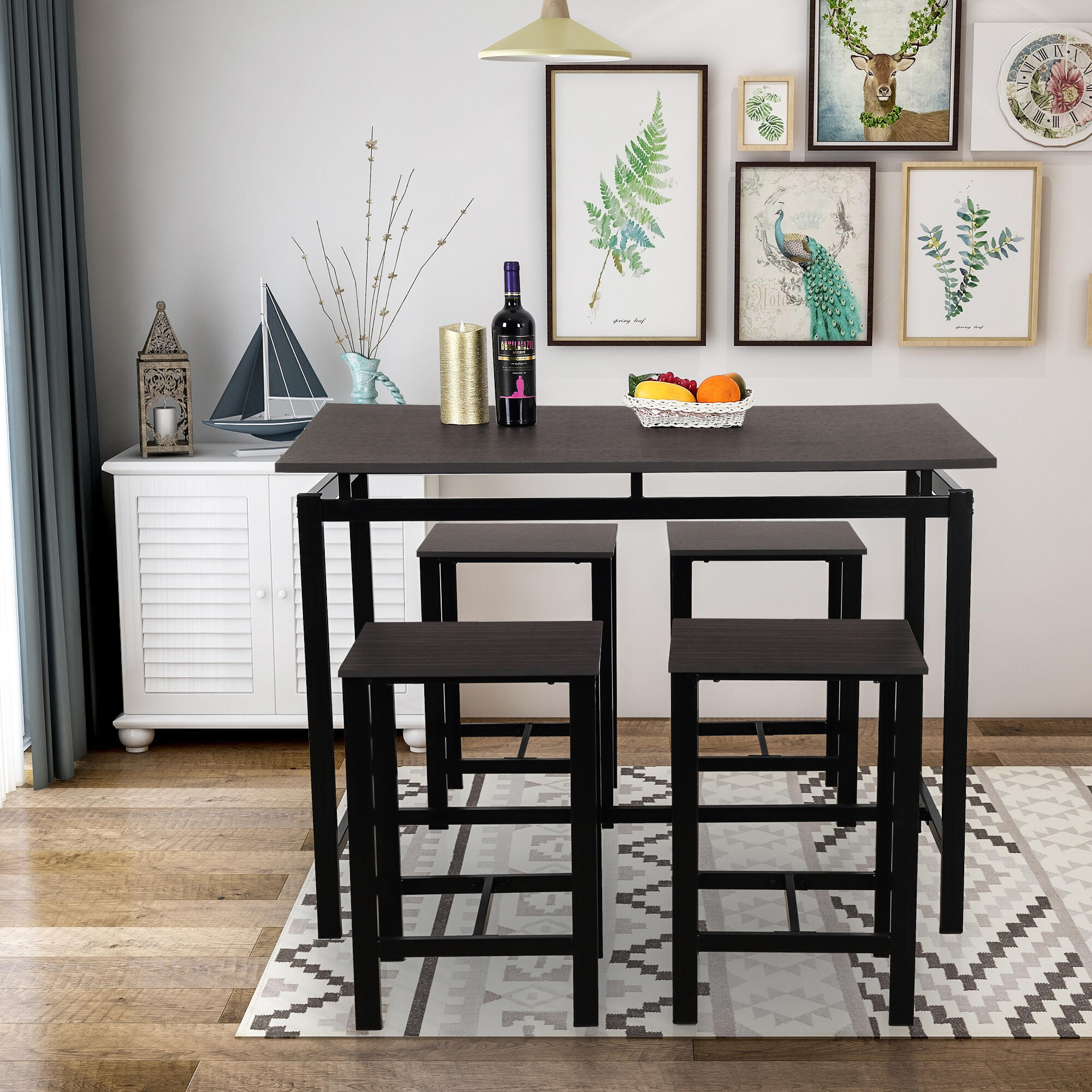 Harper & Bright Designs 5-Piece Dining Set Wood & Metal Pub Table
