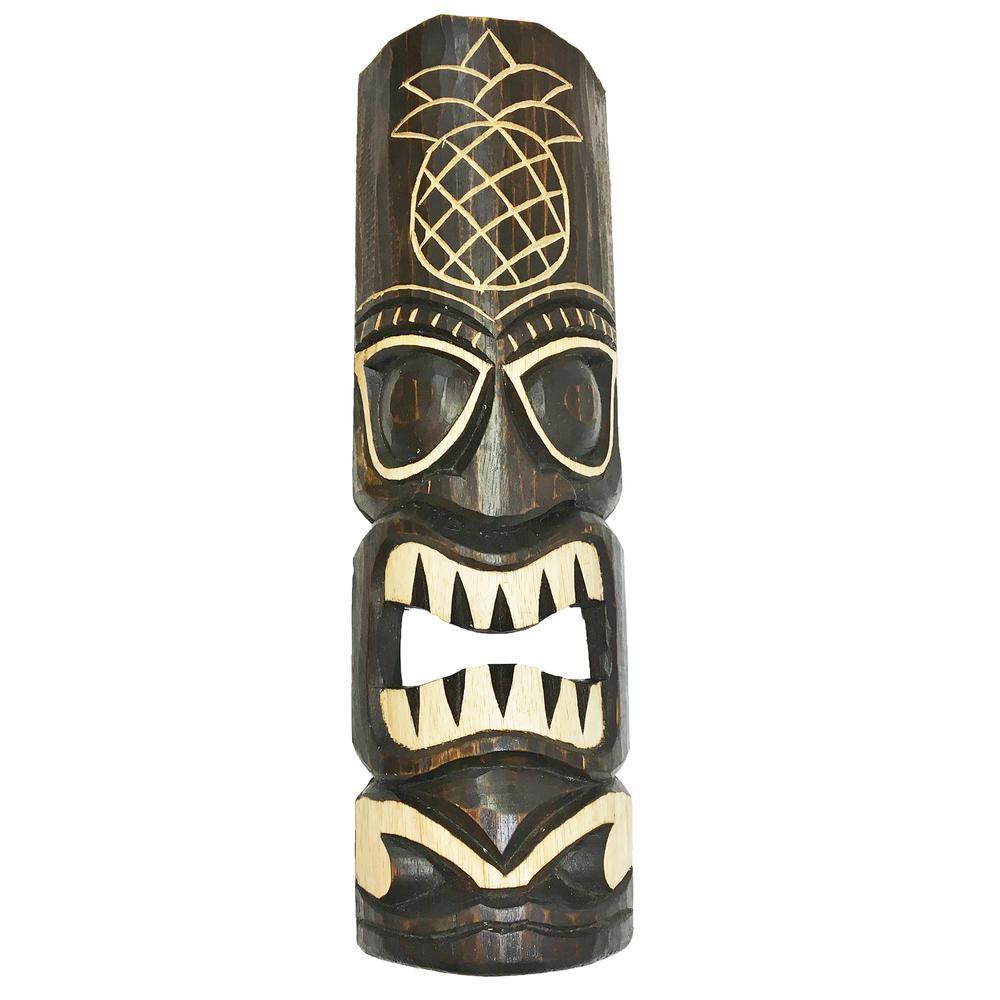 BackyardXScapes Backyard X-Scapes 20 in. Tiki Mask Hawaiian Pineapple Tropical Wood Wall Decor