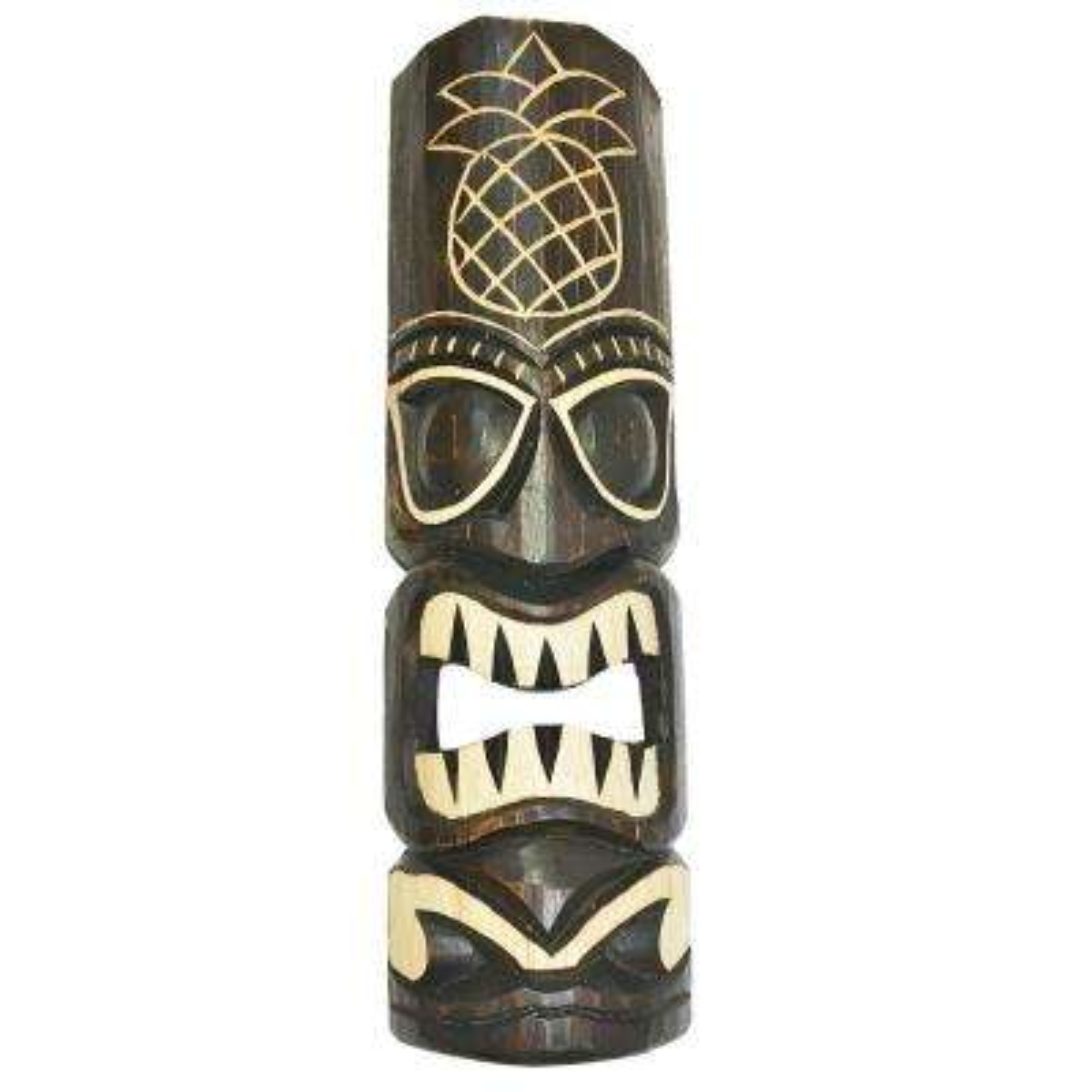 20 in. Tiki Mask Hawaiian Pineapple Tropical Wood Wall Decor
