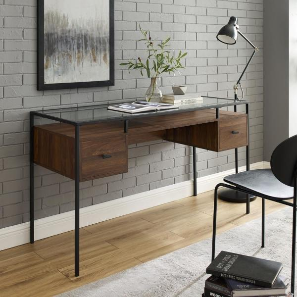 56'' 2 Drawer Glass Top Desk - Dark Walnut