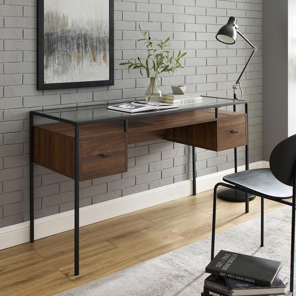 56 in. Dark Walnut Rectangular 2 -Drawer Writing Desk with Glass Top