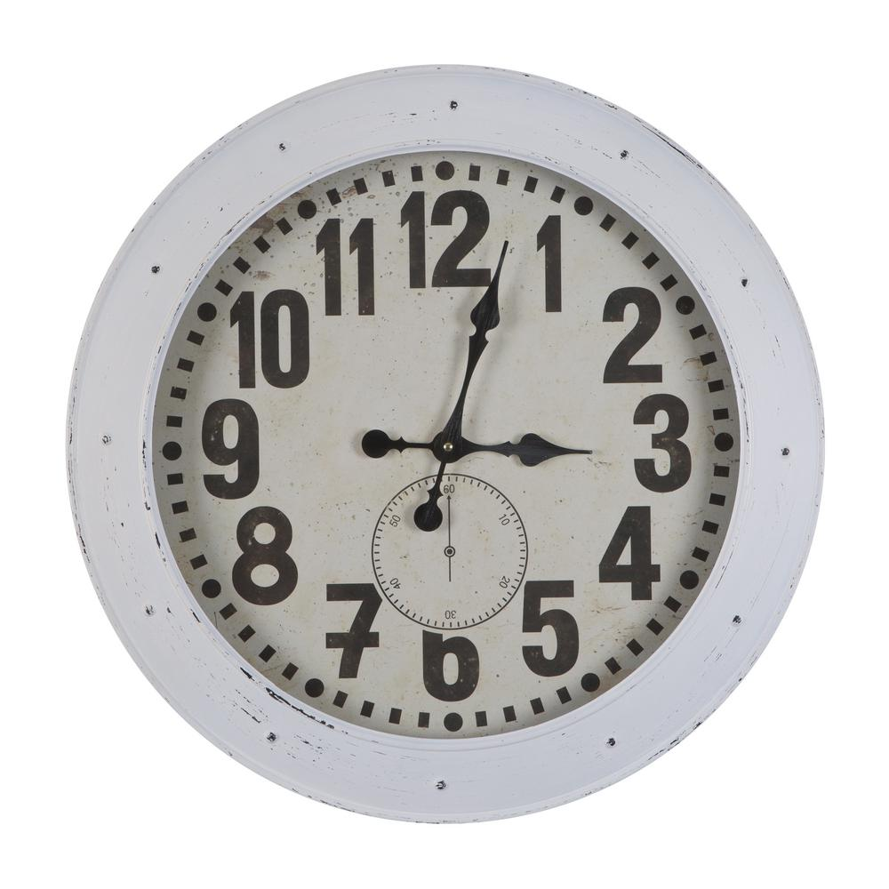 Yosemite Home Decor Romago Vintage White Port Wall Clock