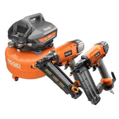 6 Gal Portable Electric Pancake Air Compressor, 18-Gauge 2-1/8 in Brad Nailer,and 15-Gauge 2-1/2 in Angled Finish Nailer
