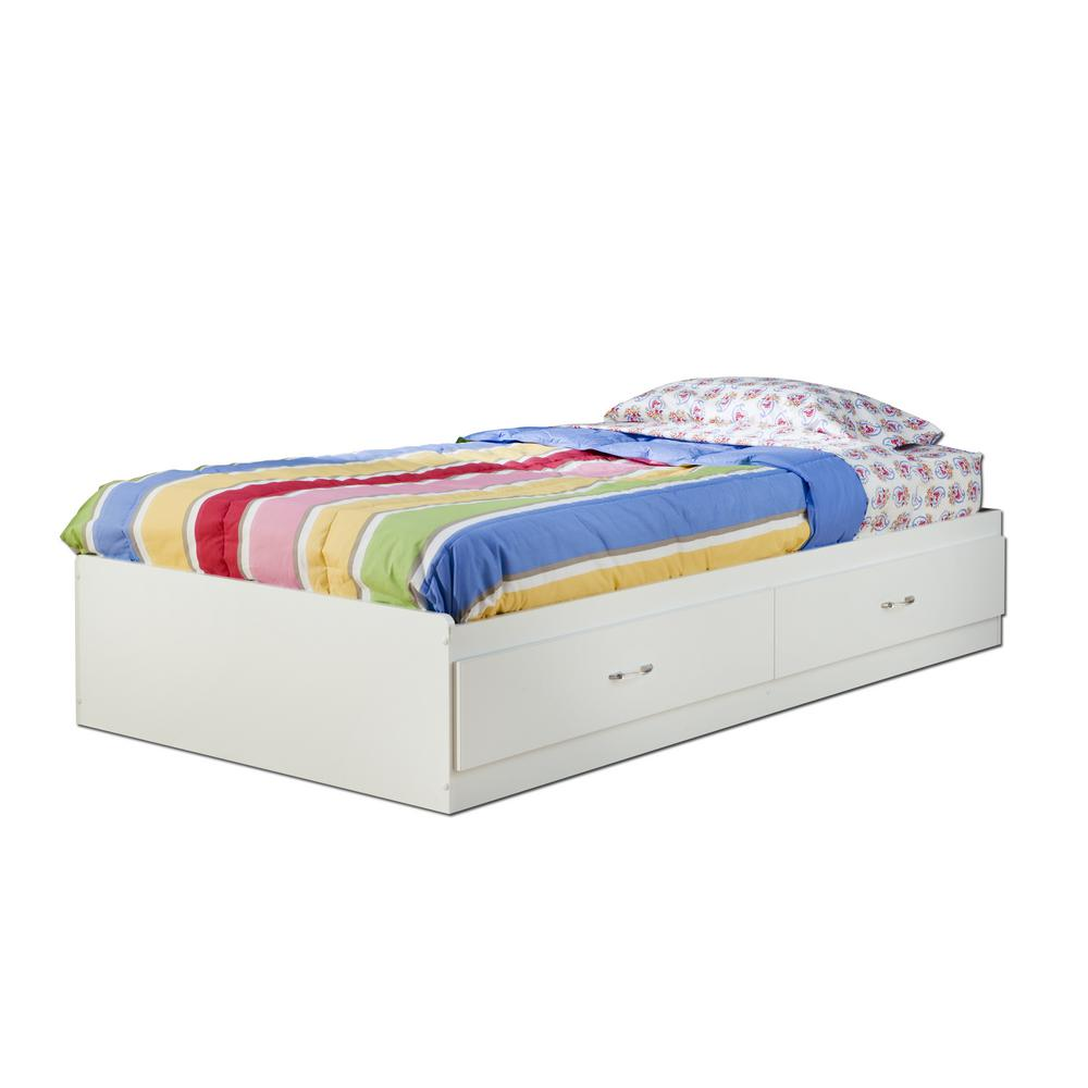 South Shore Logik 2-Drawer Twin-Size Storage Bed in Pure ...