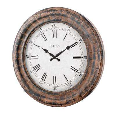 48 in. H x 48 in. W Weathered Metal Fins Round Oversized Wall Clock
