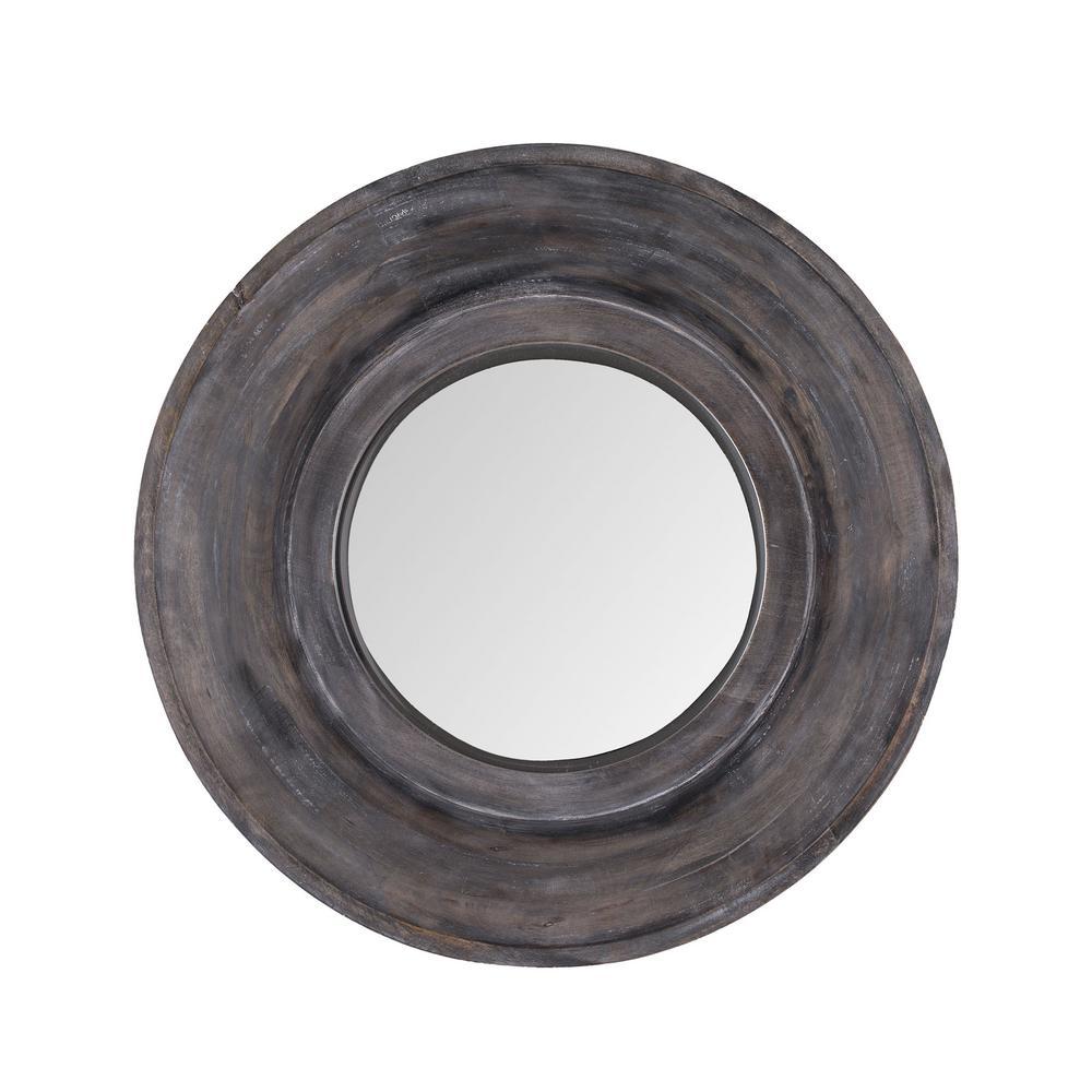Porthole 22 in. Dark Grey Stain Framed Mirror
