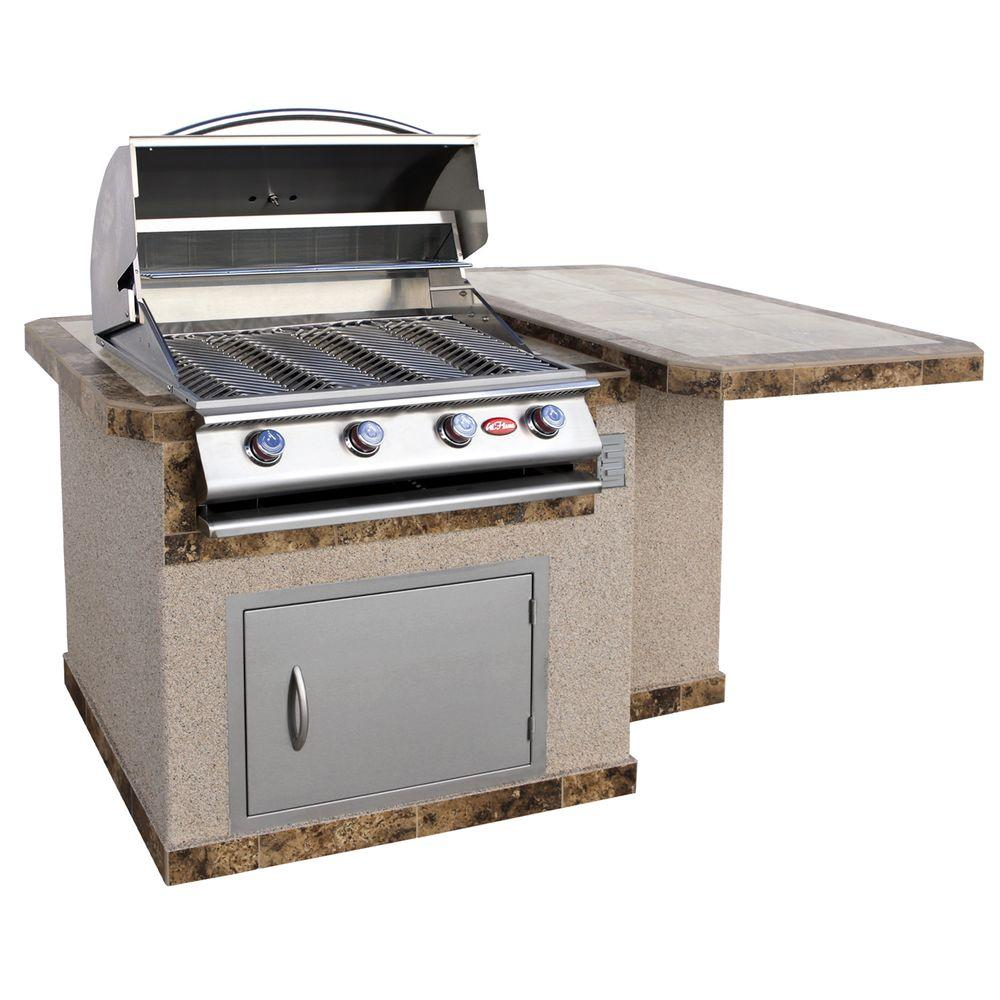 Cal flame 6 ft stucco grill island with tile top and 4 for Gasgrill fur outdoor kuche