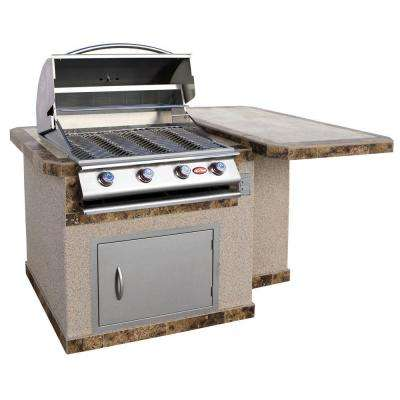 6 ft. Stucco Grill Island with Tile Top and 4-Burner Gas Grill in Stainless Steel