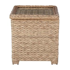 Laguna Point Natural Tan Wicker Square Outdoor Patio Side Table with Captured Glass Top