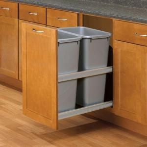 Knape & Vogt 23 inch D x 15 inch W x 22 inch D Plastic In-Cabinet 50 Qt. Double Pull-Out Soft Close Trash Can in Gray by Knape & Vogt