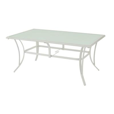 Riverbrook Shell White Rectangular Glass Top Aluminum Outdoor Patio Dining Table