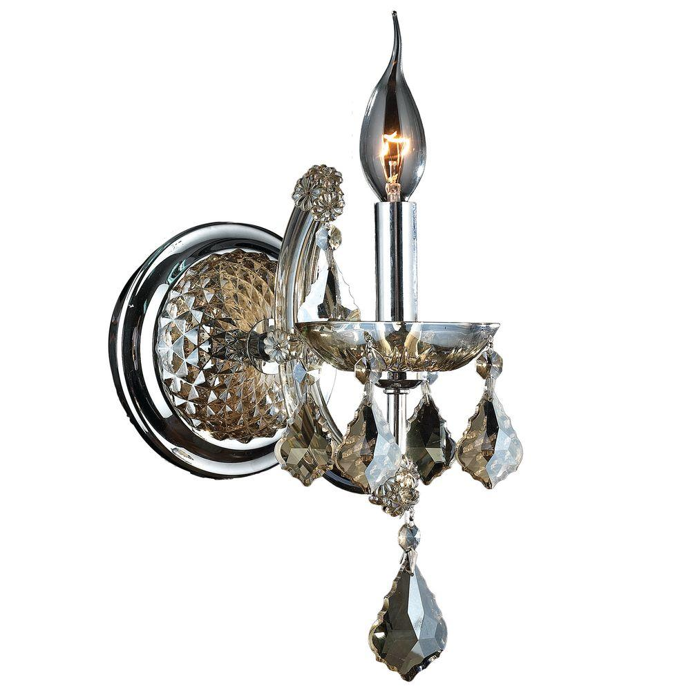 Lyre Collection 1-Light Chrome and Golden Teak Crystal Sconce