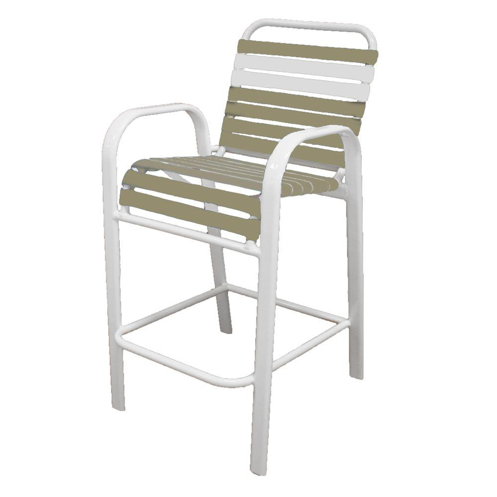 Internet 206886205 Marco Island White Commercial Grade Aluminum Vinyl Strap Outdoor Bar Stool