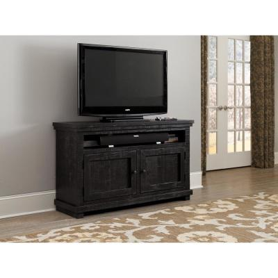 Willow 54 in. Distressed Black Wood TV Stand Fits TVs Up to 50 in. with Storage Doors