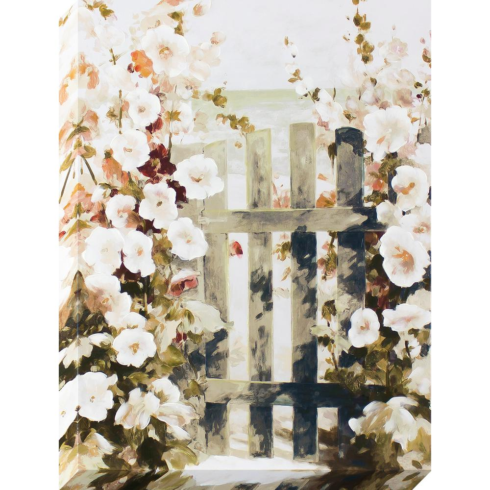 Decor therapy 40 in x 30 in picket fence scene stretched for Decor therapy