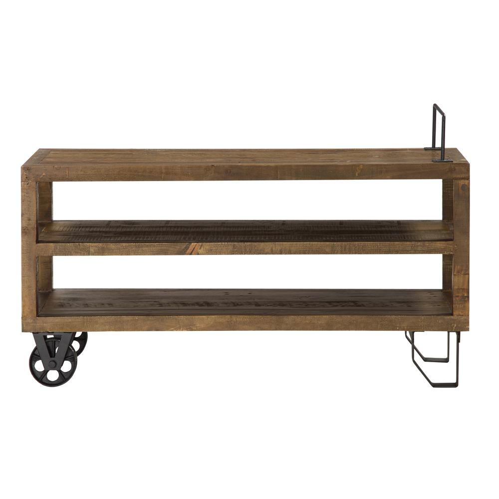 Coalburn 55 in. Russet Brown Wood TV Stand Fits TVs Up to 55 in. with Wheels