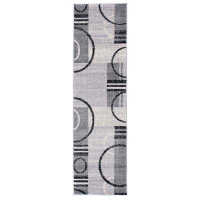 Abstract Contemporary Geometric Circles Design 2 ft. x 7 ft. Gray Runner Rug