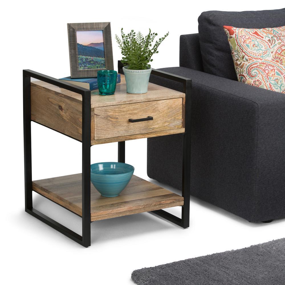 Simpli Home Riverside Natural Storage End Table