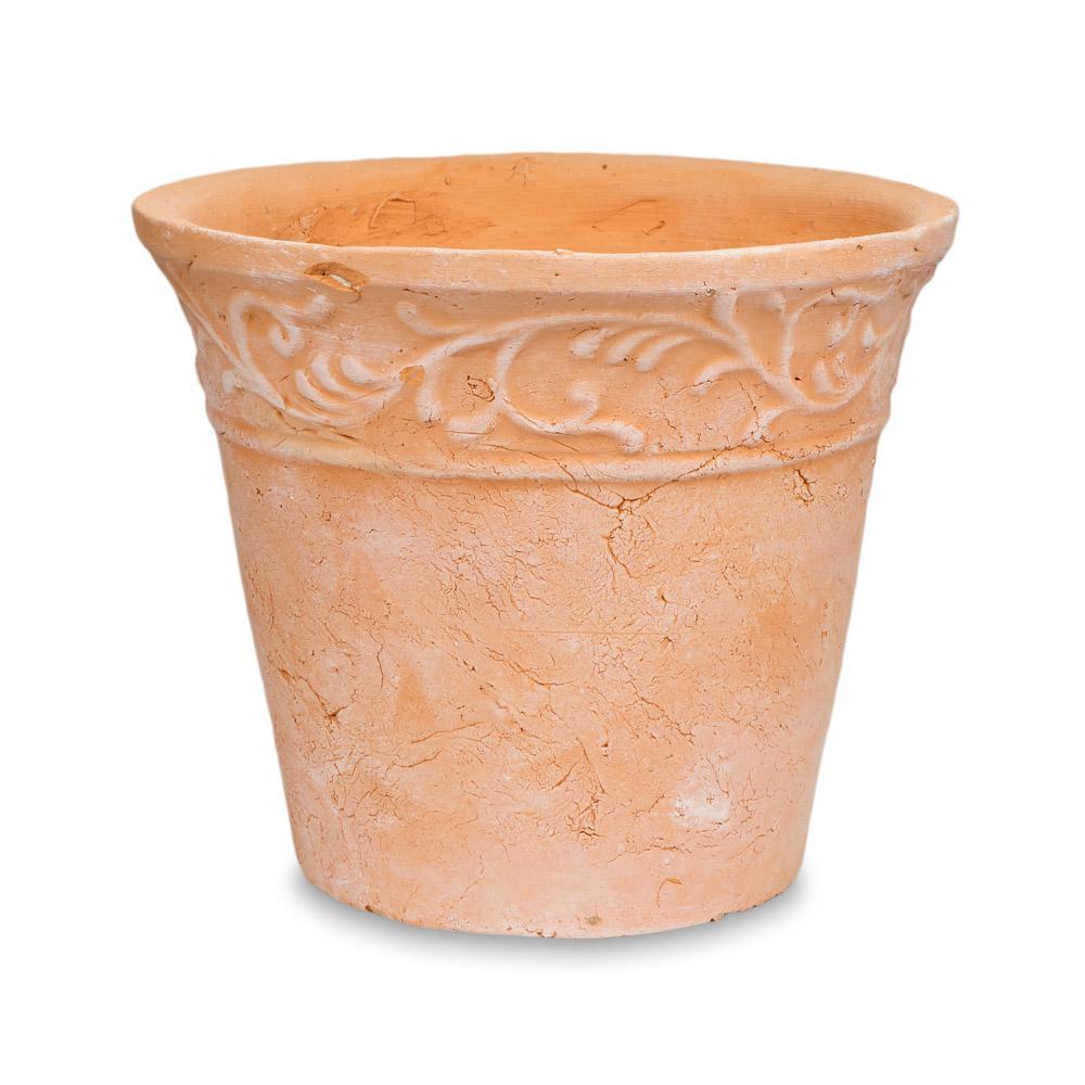 10.5 in. Blush Adobe Scroll Terra Cotta Clay Pot