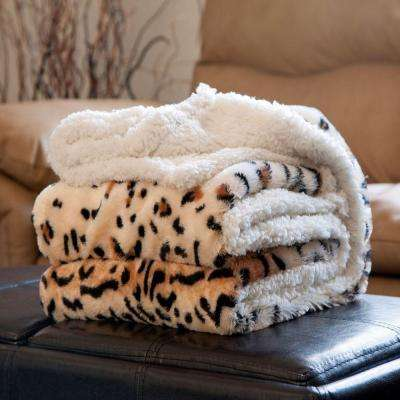 Tiger Fleece Sherpa Polyester Throw Blanket
