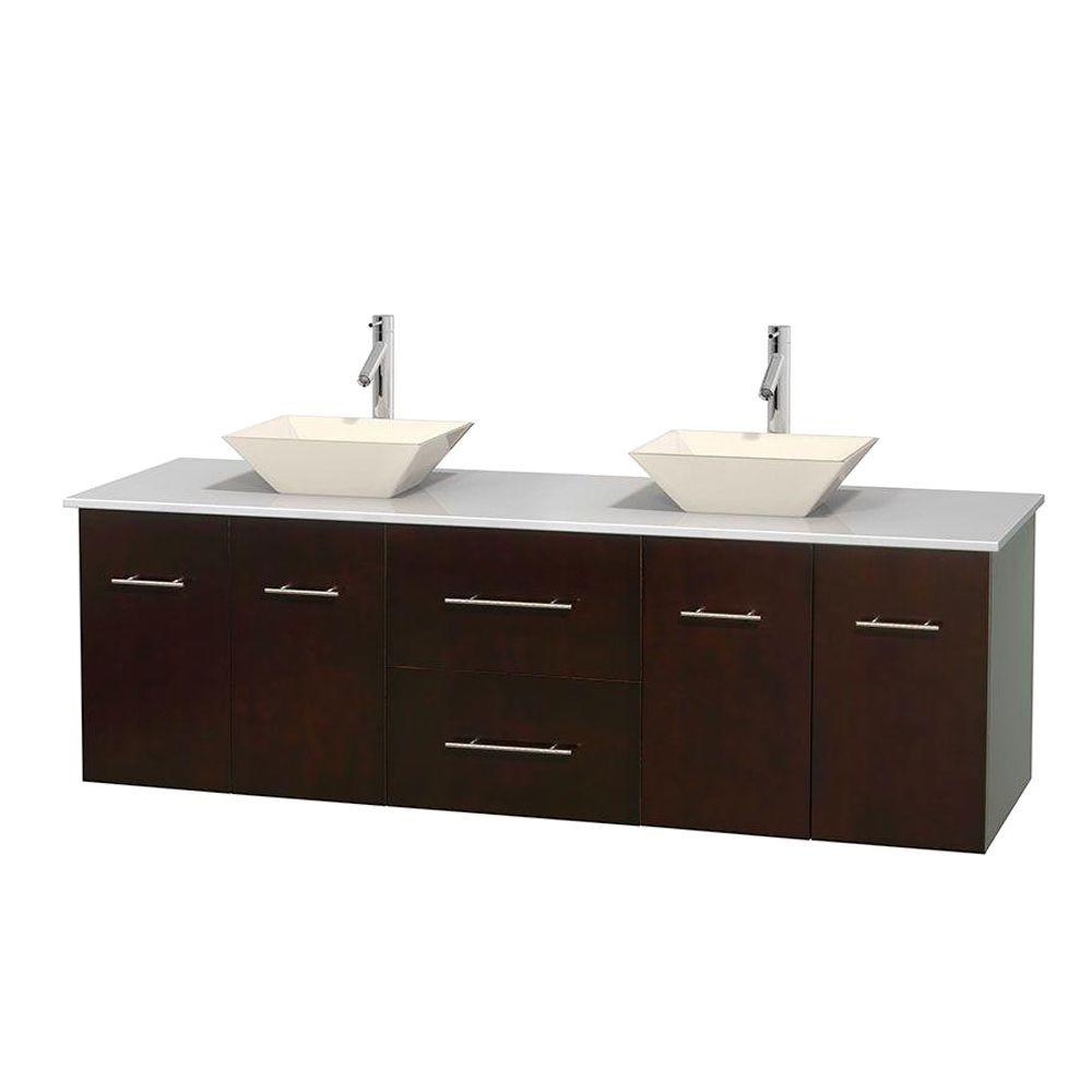 Wyndham Collection Centra 72 in. Double Vanity in Espresso with Solid-Surface Vanity Top in White and Bone Porcelain Sinks