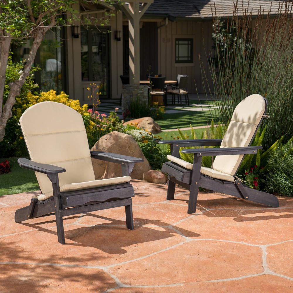 Malibu Khaki Outdoor Adirondack Chair Cushion (2-Pack)